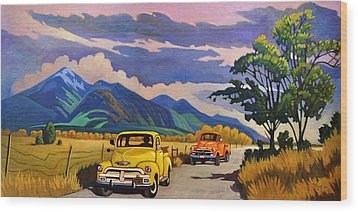 Wood Print featuring the painting Taos Joy Ride With Yellow And Orange Trucks by Art West