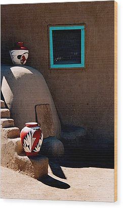 Wood Print featuring the photograph Taos New Mexico Pottery by Jacqueline M Lewis