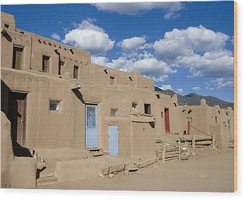 Taos Pueblo Wood Print by Elvira Butler
