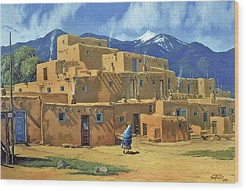 Taos Pueblo Wood Print by Randy Follis