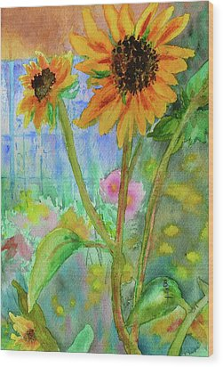 Taos Sunflowers Wood Print by Beverley Harper Tinsley