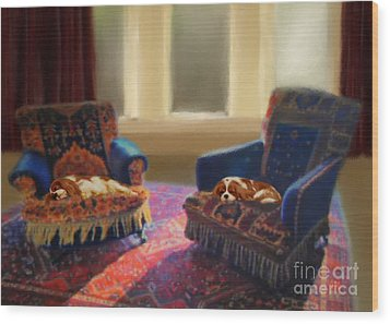 Tapestry Chairs Daydreaming Cavaliers Wood Print by Magna Carta