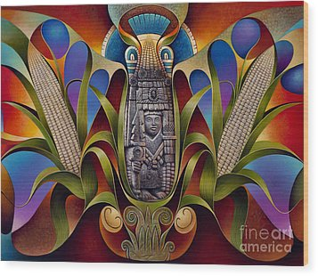 Tapestry Of Gods - Chicomecoatl Wood Print by Ricardo Chavez-Mendez