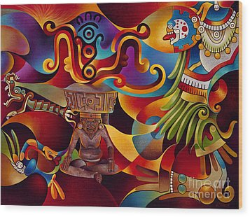 Tapestry Of Gods - Huehueteotl Wood Print by Ricardo Chavez-Mendez