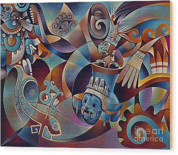 Tapestry Of Gods - Tlaloc Wood Print by Ricardo Chavez-Mendez