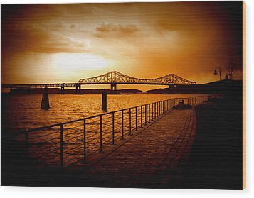 Wood Print featuring the photograph Tappan Zee Bridge by Aurelio Zucco