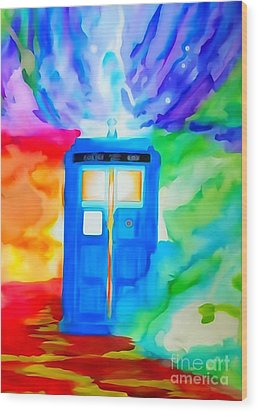 Tardis Watercolor Edition Wood Print by Justin Moore