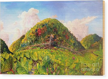 Wood Print featuring the painting Taro Garden Of Papua by Jason Sentuf