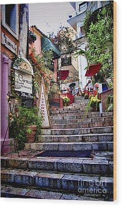 Taormina Steps Sicily Wood Print