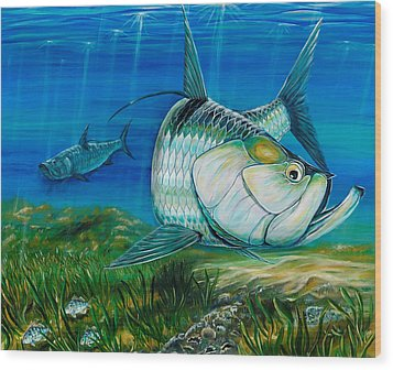 Tarpon On The Flats Wood Print by Steve Ozment