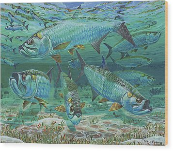 Tarpon Rolling In0025 Wood Print by Carey Chen