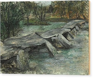 Tarr Steps Wood Print by Carol Rowland