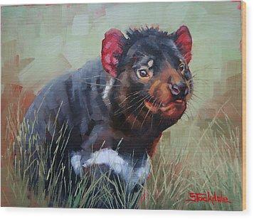 Tasmanian Devil Wood Print