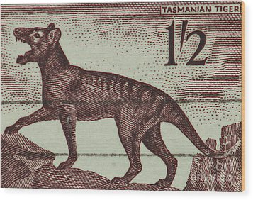 Tasmanian Tiger Vintage Postage Stamp Wood Print by Andy Prendy