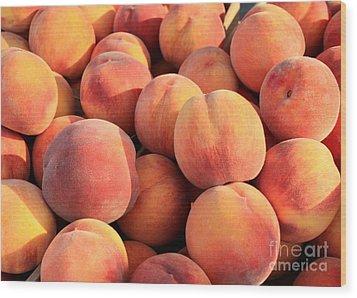 Tasty Peaches Wood Print by Carol Groenen