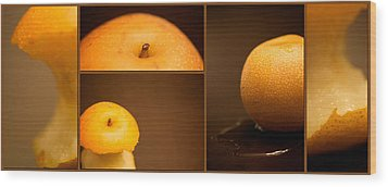 Tasty Pear Wood Print by Lisa Knechtel