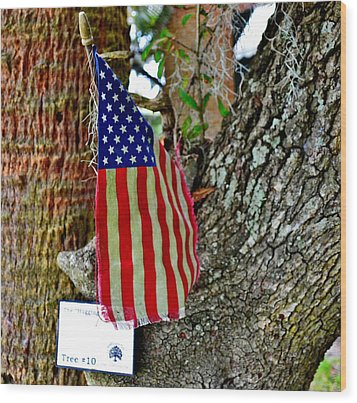 Tattered America Wood Print