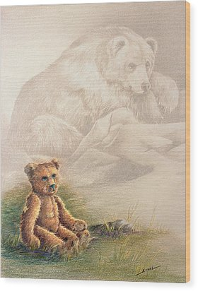 Wood Print featuring the drawing Tattered Bear by Judi Quelland