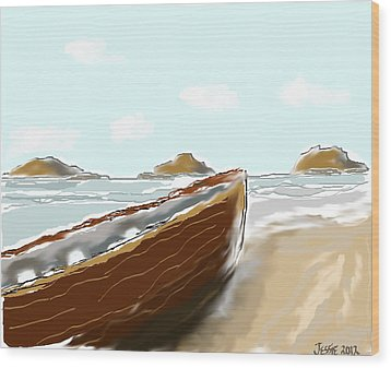 Wood Print featuring the painting Tattered Old Boat #2 by Jessica Wright