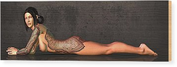 Wood Print featuring the digital art Tattooed Nude 2 by Kaylee Mason