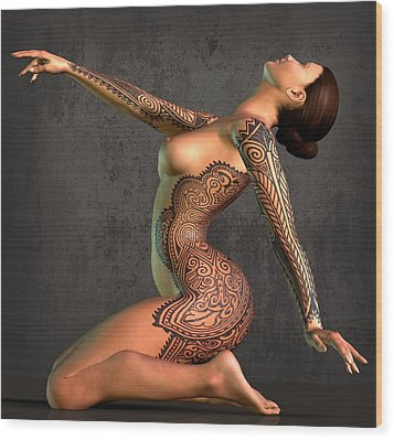Tattooed Nude 5 Wood Print by Kaylee Mason