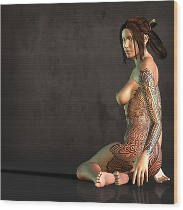Wood Print featuring the digital art Tattooed Nude by Kaylee Mason