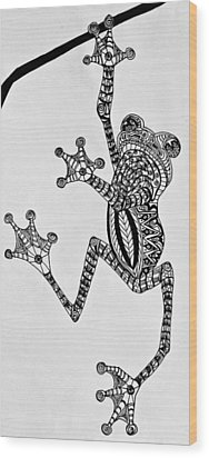 Tattooed Tree Frog - Zentangle Wood Print by Jani Freimann