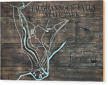 Taughannock Falls State Park Trail Map Sign Wood Print by Christina Rollo