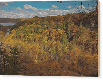 Wood Print featuring the photograph Taughannock River Canyon In Colorful Fall Ithaca New York II by Paul Ge