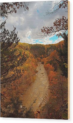 Wood Print featuring the painting Taughannock River Canyon In Colorful Fall Ithaca New York IIi by Paul Ge