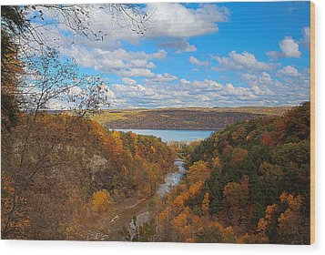 Wood Print featuring the painting Taughannock River Canyon In Colorful Fall Ithaca New York Iv by Paul Ge
