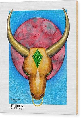 Taurus Wood Print by Michael Baum