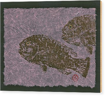Tautog On Bubble Gum Unryu Paper Wood Print