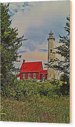 Tawas Point Light Retro Mode Wood Print