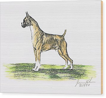 Tawny Boxer Wood Print by Joann Renner
