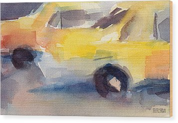Taxi Cabs Nyc Watercolor Painting Wood Print by Beverly Brown