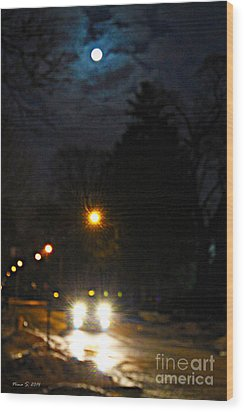 Wood Print featuring the photograph Taxi In Full Moon by Nina Silver