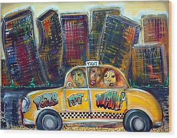 Taxi Wood Print by Laura Barbosa