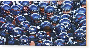 Tcu Horned Frogs Wood Print by John Babis
