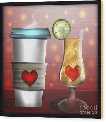 Tea And Coffee Wood Print