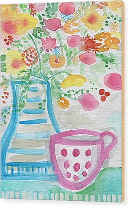 Tea And Fresh Flowers- Whimsical Floral Painting Wood Print by Linda Woods