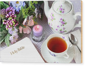 Tea And Scripture Wood Print by Pattie Calfy