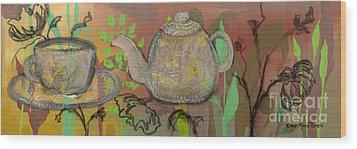 Tea Blossoms Wood Print by Robin Maria Pedrero