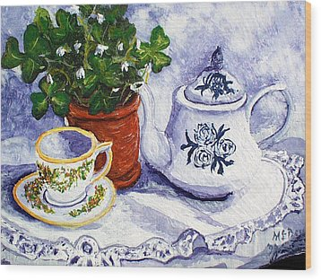 Tea For Nancy Wood Print by Barbara McDevitt
