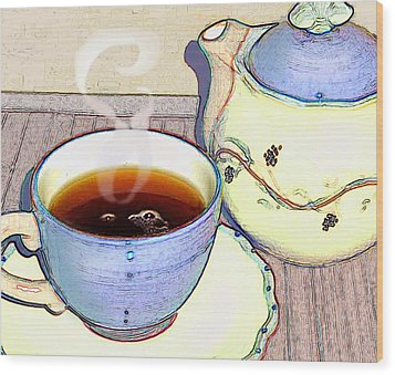 Tea For One Wood Print by Ginny Schmidt