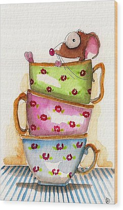 Tea For One Wood Print by Lucia Stewart