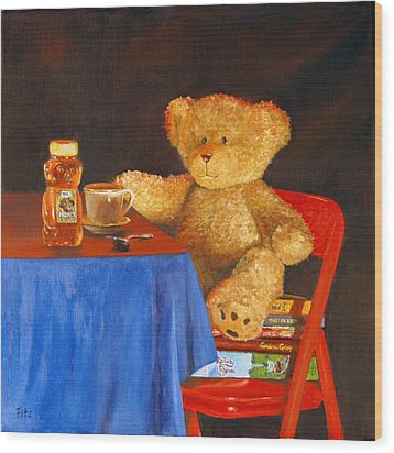 Tea For Teddy Wood Print