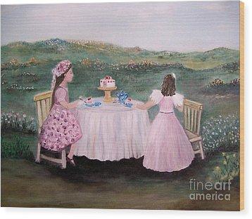 Tea For Two Wood Print by Rhonda Lee