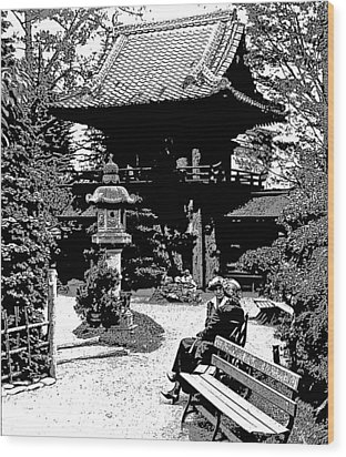 Wood Print featuring the photograph Tea Garden Golden Gate Park San Francisco 1915 by A Gurmankin