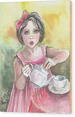 Tea Granny Wood Print by Kim Whitton
